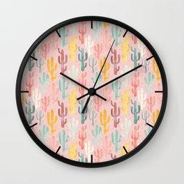 Long Multicolored Cacti Wall Clock