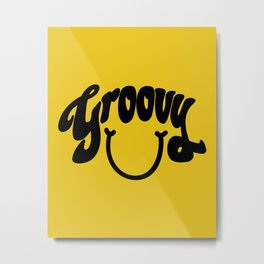 Groovy Smile // Black Smiley Face Fun Retro 70s Hippie Vibes Mustard Yellow Lettering Typography Art Metal Print