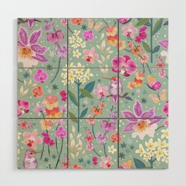 Orchid Garden on Sage Green Wood Wall Art