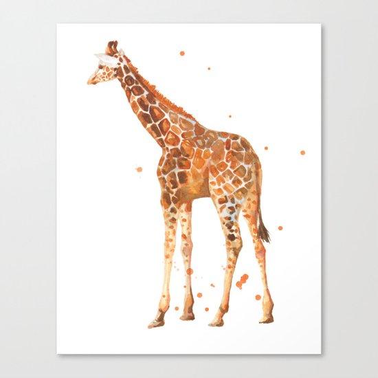 giraffe, african animals, wildlife, cute baby giraffe, nursery animals, safari Canvas Print