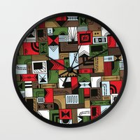 home alone Wall Clocks featuring Not Home Alone by Nick Villalva