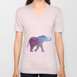 Colorful Elephant (Purple, Pink, and Blue) Unisex V-Neck