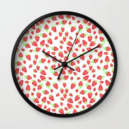 Summer bright red hand painted watercolor strawberries fruits pattern Wall Clock