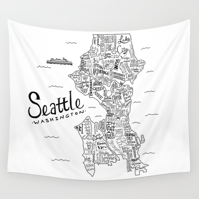 Seattle Map Wall Tapestry by clairelordon Society6