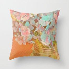 Hydrangeas Bouquet Painting Throw Pillow
