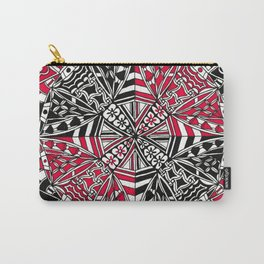 Red and Black Zendala Carry-All Pouch