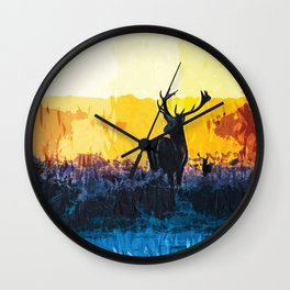 The water, the fire and the deer Wall Clock