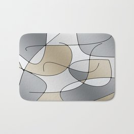 ABSTRACT CURVES #1 (Grays & Beiges) Bath Mat