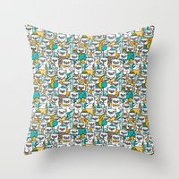 pug Throw Pillows featuring Pug pattern by gemma correll