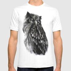 Owl White Mens Fitted Tee MEDIUM