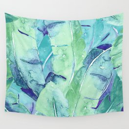 Banana Tree Leaves   Tropical  BLUE Watercolor Wall Tapestry