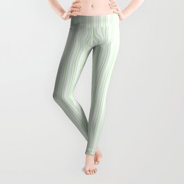 Classic Small Spearmint Mint Pastel Green French Mattress Ticking Double Stripes Leggings