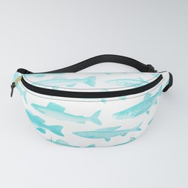 Fishes - Simple pattern in aqua on clear white Fanny Pack
