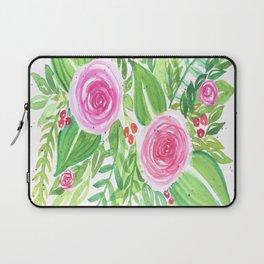 Spring Floral Pink Roses Green Leaves Watercolor Laptop Sleeve