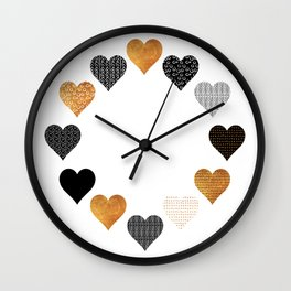 Gold, black, white hearts Wall Clock