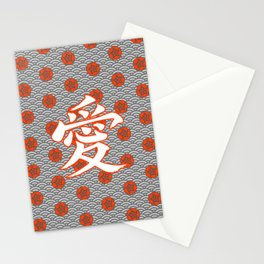 Eastern Love POPPY RED / Japanese character for love Stationery Cards