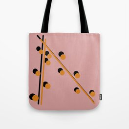 Mustard on Black Globular and line Tote Bag