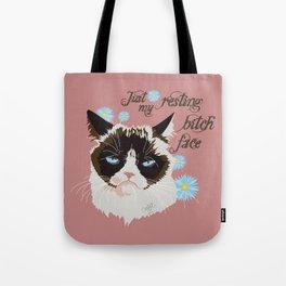 Resting Cat Face Tote Bag