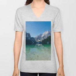 The Seekofel mountain reflected in the clear waters of Lake Braies Unisex V-Neck