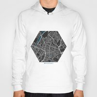 brussels Hoodies featuring Brussels city map black colour by MCartography