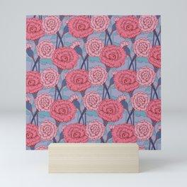 Dark Pink Flowers Pattern Mini Art Print