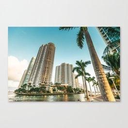 miami beach and downtown Canvas Print