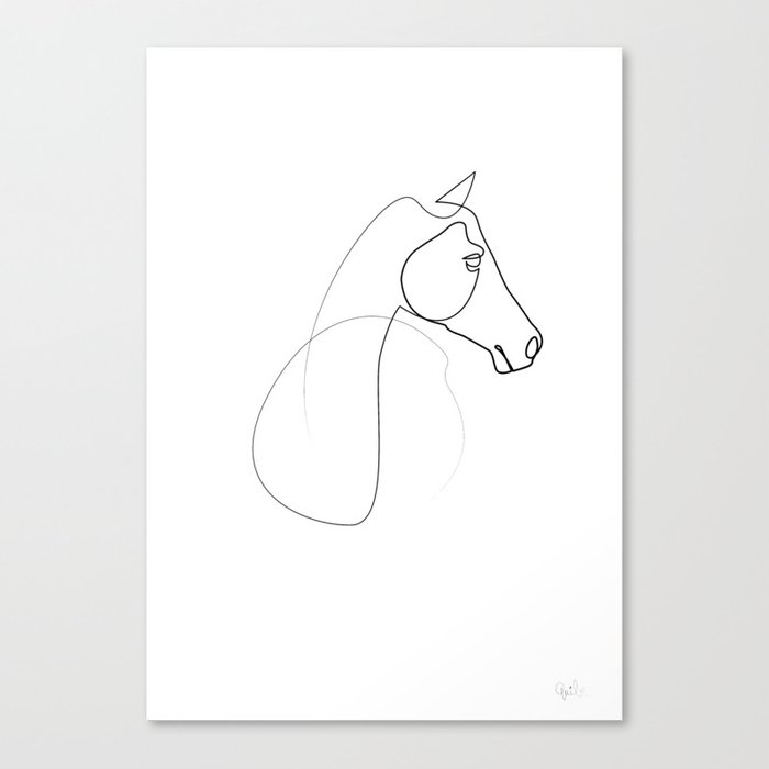 One line Horse 0110 Canvas Print