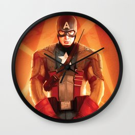 Captain The First  Avenger America by Big Foot Studios Wall Clock