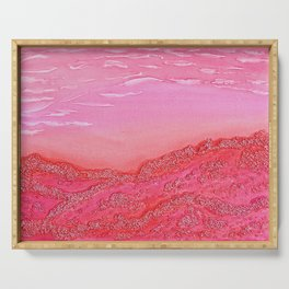 Silver Mountain in Red / Acrylic Painting Serving Tray