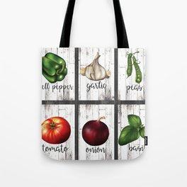 Rustic White Wood Herbs & Garden Vegetables Tote Bag