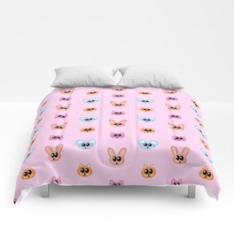 Cute Rabbit, Cat, Mouse and Fox Pink Cartoon Character Pattern Comforters