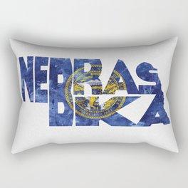 Nebraska Typographic Flag Map Art Rectangular Pillow