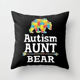 Cute Autism Awareness Aunt Bear Throw Pillow