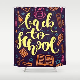 Colorful Back to School Education Shower Curtain