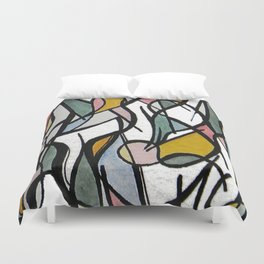 Geometric Abstract Watercolor Ink Duvet Cover