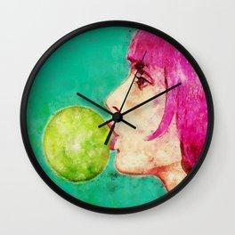 Bubble gum girl Wall Clock