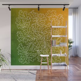 Green Yellow Grunge Leaves Wall Mural