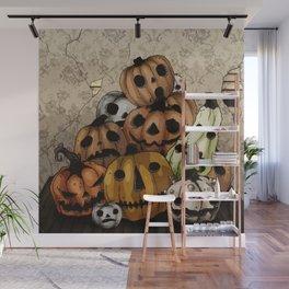 Halloween Pumpkins, a Cornucopia of Jack o' lanterns. spoopy Wall Mural