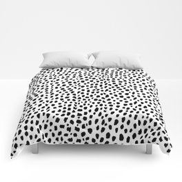 Dalmatian Spots (black/white) Comforters