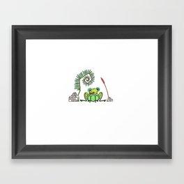 Frog, Fern, Bulrush and Rocks Framed Art Print