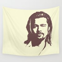 brad pitt Wall Tapestries featuring Brad Pitt :) by Dora Birgis