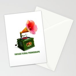 ORGANIC INVENTIONS SERIES: Vintage Floral Phonograph Stationery Cards