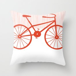 Red Bike by Friztin Throw Pillow