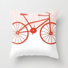 Red Bike by Friztin Throw Pillow
