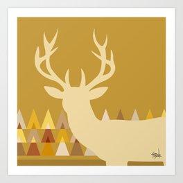 Deer Head Geometric Triangles | mustard yellow taupe Art Print