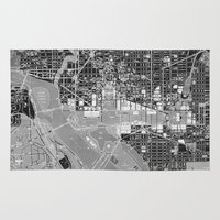 washington dc Area & Throw Rugs featuring Washington DC Street Map by Color and Form