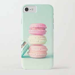 Tower of macarons, macaroons over green mint iPhone Case