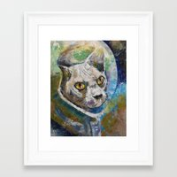 space cat Framed Art Prints featuring Space Cat by Michael Creese