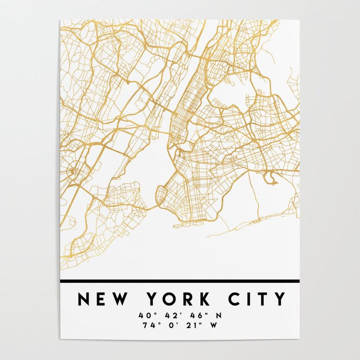 NEW YORK CITY NEW YORK CITY STREET MAP ART Poster by deificusart  Street New York Map on 42 street shuttle train side, nassau county precinct map, oyster bay ny township map, elmira ny finger lakes map, 42 street central park, amityville ny on us map, rochelle park nj map, 42 st map, long island school district map, 42 street nyc in 1951, new your city street map, new rochelle map, theater district map, seaford ny 11783 on map, 42 street manhattan, nyc map,