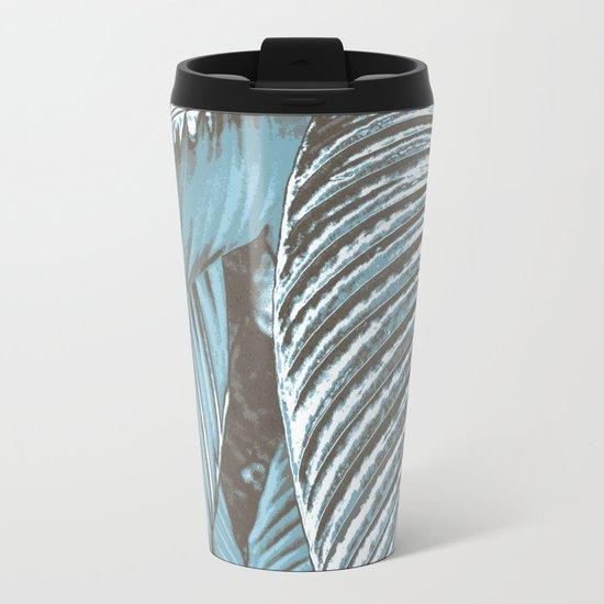 Sea-blue Leaves Metal Travel Mug